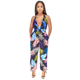 deep v neck jumpsuit backless romper 2020 - Sexy Deep V Neck Boho Slit Playsuit 2019 Summer Beach Jumpsuits Backless Floral Print Romper Women Overalls Vestidos dis