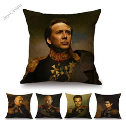 $enCountryForm.capitalKeyWord Australia - Neoclassic Movie Stars in General Costume Oil Painting Decorative Chair Throw Pillow Linen Celebrity Face Replace Cushion Cover