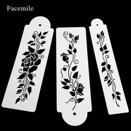 cake lace moulds UK - 3PCS SET Tree Vine Leaves Fondant Cake Stencil Mould Border Lace Decor Icing Sugarcraft Tools 55063 Other Bakeware
