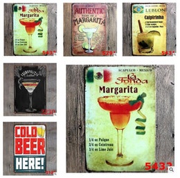 Wholesale Metal Signs Beer Vintage Motorcylce Wall Poster Cars Food Cocktail Motor Plaque Wall Art Painting Antique Retro Pub Bar Garage Home Decor