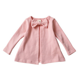 Knit Baby Jacket NZ - Autumn Knitted Round Neck Button Leisure Cardigan Jacket Coat Baby Pure Cotton Bow Tow Decoration Boys Girls