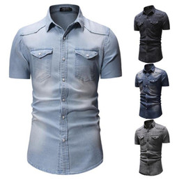 Wholesale short denim shirts for sale - Group buy Mens New Denim Shirts Top Short Sleeve Fashion Casual Wash Lapel Denim Short Sleeve Shirts Male Business Tops