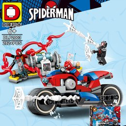 Toys Bricks Australia - 282pcs Spiderman Super Heroes Avengers Motorcycle Building Blocks Figure Compatible Legoing Brick Toys For Children