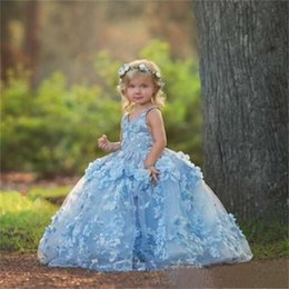 Yellow Lace Gown Girls Australia - Cute Blue Flower Girl Dresses Lace 3D Floral Appliques Ball Gown Sleeveless Girls Pageant Gowns Kids Communion Dress