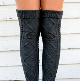 dd85268ffba Over Knee High Girls Stockings Knitted Winter Warm Long Socks Women Knitting  Leg Warmers Rhombus Crochet Socks Female Thigh High Pantyhose