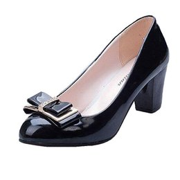$enCountryForm.capitalKeyWord UK - Free Shipping 2019 Women's Shoes Work Shoes Spring And Autumn Bow Low Low-heeled Shoes Thick Heel Casual Female Leather