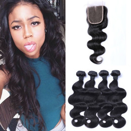 hair bleach for weave 2019 - Wholesale Cheap Body Wave Human Hair Weaves With Lace Closure 4x4 Bleached Knots Natural Color For Women LaurieJ Hair ch