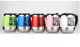 stainless steel self stirring mug Canada - Fashion New DHL Automatic Electric Self Stirring Mug Coffee Mixing Drinking Cup Stainless Steel 450ml 7 Color Choose