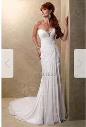 Silk Satin Sheath Wedding Dresses Australia - Sheath Column Strapless Sweetheart Chapel Train Chiffon Wedding Dress s