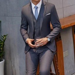 men wedding suits styles Australia - 2020 New Brand Hot Gray Suit Men Groom Tuxedo Style Blazer Slim Fit 3 Piece Prom Wedding Suits Terno Masculino jacket+Pant+Vest