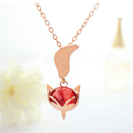 Fox Pendant Gold Australia - Fashion Women Chokers Necklaces Fox Necklaces & Pendants Rose Gold Color Stainless Steel Female Collares Jewelry Gift FS26