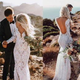 ca438c8826a Cheap Mermaid Boho Wedding Dress Lace Long Sleeves Beach Garden Country  Church Bride Bridal Gown Custom Made Plus Size
