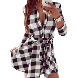 $enCountryForm.capitalKeyWord NZ - CALOFE Women Blouses Dress Plaid Turn Down Collar Spring Summer Dress Long Sleeve Casual Fashion Mini Dress Female Vestidos Y19012102