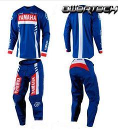 Dark Blue Suits Australia - yamaha Motocross Jersey And Pant Combos ATV BMX DH MX Moto Suit Dirt Bike Combo Cycling Motorcycle Clothes Set