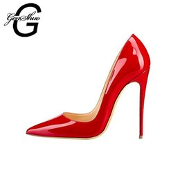GENSHUO Women Pumps Red Lacquer Patent Leather High Heels Shoes for Wedding  Party Sexy Stiletto Heels Pointed Toe 10 12cm 8ffc11e345fb