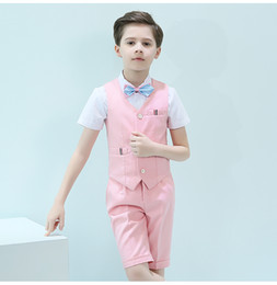 kids navy jacket NZ - 2019 Short Sleeve One Button Peak Lapel Kid Complete Designer Handsome Boy Wedding Suit Boys' Attire Custom-made (Jacket+Pants+Vest)