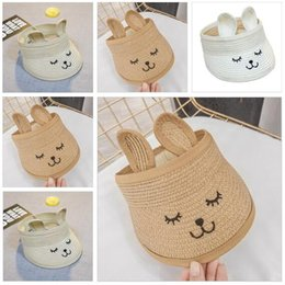 Discount baby kids rabbit ear hat - Baby Boys Girls Straw Sun Hats Summer Kids Beach Caps Empty Top Hat with Cute Rabbit Ears Children Outdoor Hiking Cap Fr