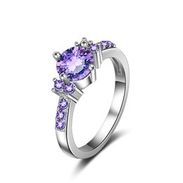 $enCountryForm.capitalKeyWord Australia - Round Zircon Purple Crystal Titanium Steel Claws Inlaid Engagement Rings Fashion Jewelry