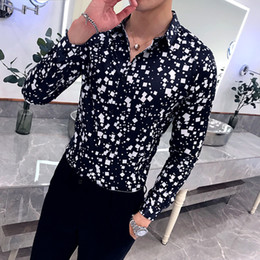 $enCountryForm.capitalKeyWord Australia - New Trendy Shirt Men Plaid Printed Long Sleeve Casual Shirts Male Black White Blouse Man Stretch Dress Tuxedo Slim Fit Shirt Men T2190608