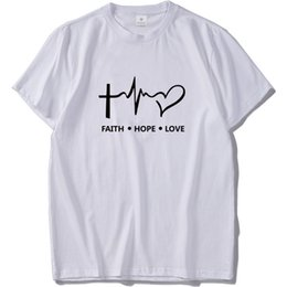 christian t shirts Canada - Faith Hope Love T Shirt Christian God Teen Gift Tshirt Homme 100% Cotton Short Sleeve T-Shirt Hipster S-Xxxl