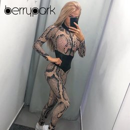 front zipper jumpsuit NZ - BerryPark Snake Skin Sport Jumpsuit 2019 Winter Women Long Sleeve Front Zipper Yoga Set Gym Suit Fitness Clothes Drop Shipping #319743