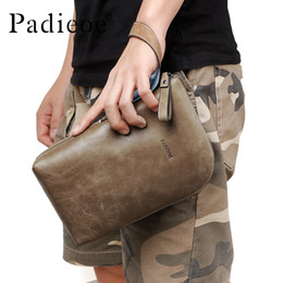 Business Hand Bags Australia - Famous Brand Men's Clutch Bag Vintage Genuine Leather Envelope Bag for Male Business Hand with Wrist Strap designer tote designer-handbags