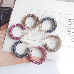$enCountryForm.capitalKeyWord Australia - New Hoop Earrings Women Fashion Austrian Crystal Hoop Earrings Geometric Round Shiny Rhinestone Big Earings Jewelry