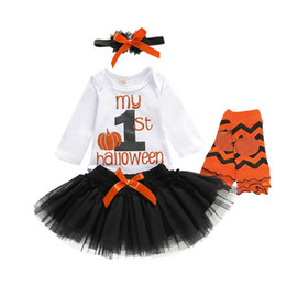 baby white lace romper Australia - Halloween Newborn Infant Baby Girl Clothes Sets White Pumpkin Romper Tulle Lace Skirts+Headband+ Outfit Set