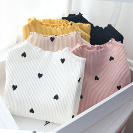 Girl Red Love Shirt Australia - 2019 Spring autumn baby girl t-shirt fashion children love heart o-neck long sleeve cotton solid color tops