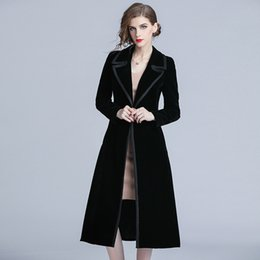 $enCountryForm.capitalKeyWord Australia - vintage European Black Velvet Office Lady Windbreaker 2019 Spring Fashion Long Trench Coat Women Slim Elegant Woman Clothes B06
