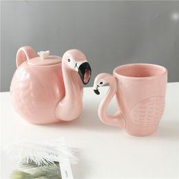 $enCountryForm.capitalKeyWord NZ - Exquisite 3D Flamingos Pot cup Sets,Super Beauty Coffee Mugs Cup Teapot Girl Birthday Gift,coffee pot tea set Christmas Gift