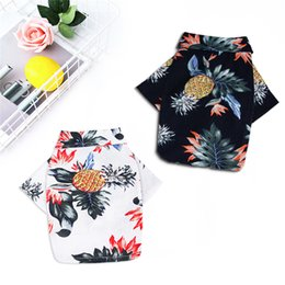 male clothing styles Canada - Dog Hawaiian Style Shirt Summer Printed Clothes Dog Short Clothing Thin Sleeves Costume Cute Pet Clothes With Pineapple Pattern