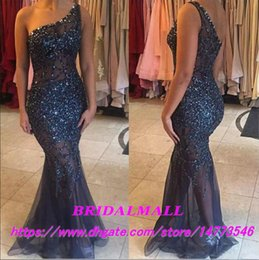 Black Long Rhinestone Bodice Dress NZ - 2019 Sexy One Shoulder Beaded Crystal Navy Blue Mermaid Evening Dresses Illusion Bodice Formal Party Gowns Rhinestones Tulle Long Prom Dress