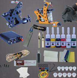 Kit Boxes Australia - Tattoo 2 Tattoo Machines 6 Colors Ink Power Supplies Box Grips Body Arts Supplies Needles Tips Tattoo Beginner Kits
