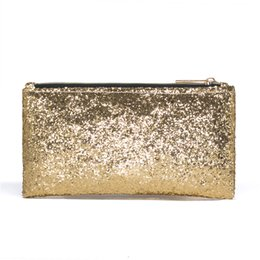 CALDWELL Paillettes Lusso Cosmetico Bag Organizer Glitter Bling Paillettes Donne Wedding Party Makeup Brush Bag Giallo