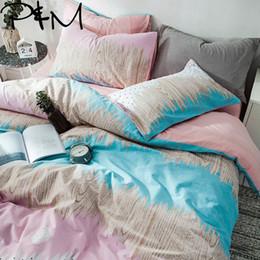 $enCountryForm.capitalKeyWord Australia - PAPA&MIMA Waves print fashion style bedding sets Cotton washed cotton Queen Size duvet cover set bedsheet pillowcases