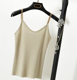 Metal Fines Australia - Camisole Fine Metal Belt Glitter tops Sleeveless Tank Tops Sexy Women With V-neck Knit Club Spaghetti Camisa Lady Camis Casual