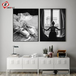 $enCountryForm.capitalKeyWord Australia - Black White Window Girl Posters Print Foot Dance Ballet Canvas Painting Wall Art Pictures For living Room Home Decor No Frame