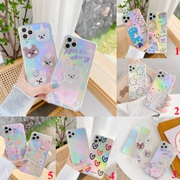 galaxy note cartoon phone cases NZ - Cute laser paper transparent cartoon cat bear heart Soft phone case for iphone 11 Pro Max X XR XS Max 7 8 plus back cover promotion