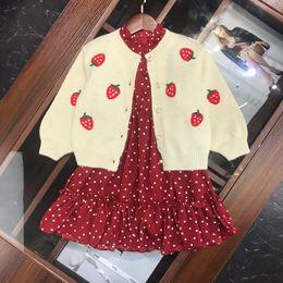 $enCountryForm.capitalKeyWord Australia - Girls dress sets kids designer clothes sweater knit jacket + polka dot dress 2pcs embroidery fruit pattern autumn fashion setss