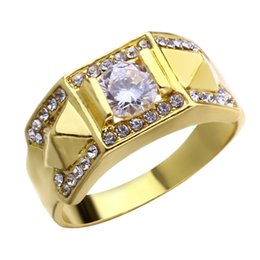 $enCountryForm.capitalKeyWord Australia - Punk Gold Color Silvery Ring for Man Paved Cubic Zircon Party Finger Jewelry Round Wedding Ring for Man and Woman
