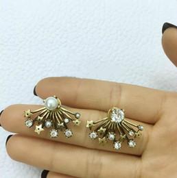 Vintage Diamond Stud Earrings NZ - Luxury earrings women vintage fan shaped pearl diamond stud earrings European designer letter C and D jewelry