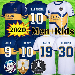 Wholesale de shirt online – design 2020 Boca Juniors Soccer Jerseys DE ROSSI TEVEZ BOCA Camiseta CARLITOS MARADONA Football Shirt ABILA boca jrs kits kids equipment