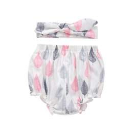 button panties Australia - Fashion Baby Girls Cotton Panties Children's Leaves Printing Underpants Kids Briefs And Headband Kit