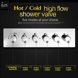 $enCountryForm.capitalKeyWord NZ - 5 Way Hot And Cold Shower Faucet Diverter Chrome Brass Faucet Controller High Flow Valve Set 20180927#
