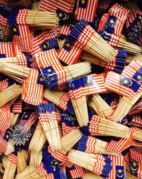 Custom toothpiCks online shopping - Factory direct custom foreign trade embassy dedicated Malaysia toothpick flag green fruit toothpick flag
