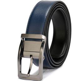 Leather Belts For Buckles Australia - Men Genuine Leather Belt Reversible Waist Strap Pin Buckle Casual Belts For Men Male High-end Cowskin Leather Girdle Belt Boy