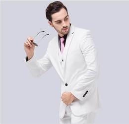 a9cd4677d1e Blanco Slim Fit Novio Esmoquin Muesca Centro de la solapa Vent Padrino de  boda para hombre Vestidos de novia 2019 Excelente traje de hombre (chaqueta  + ...
