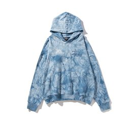 wholesale tie dye shirts Australia - Candy Color Rendering Hooded Sweater Tide Brand Tie-dyed Blue Haze of Men and Women Loose Sweater Coat Lovers Mens Designer T Shirts