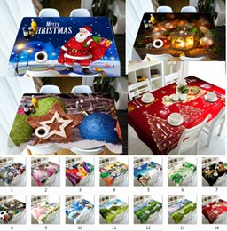 Decor Ornament Australia - Merry Christmas Rectangular Tablecloth 90x150cm Print Kitchen Dining Waterproof Table Covers Ornaments Decorations for Home New Year Decor